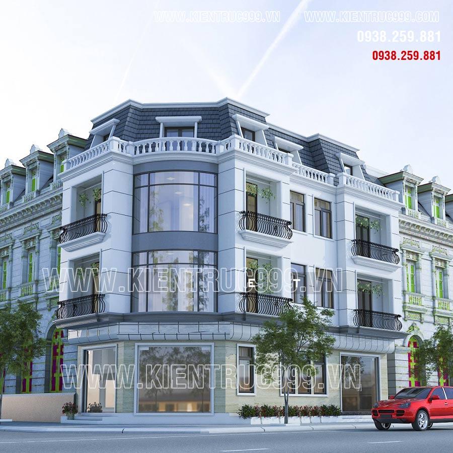 Nhà góc đường 3 tầng cổ điển có 1 tầng áp mái trên cùng thiết kế phong cách tân cổ điển.