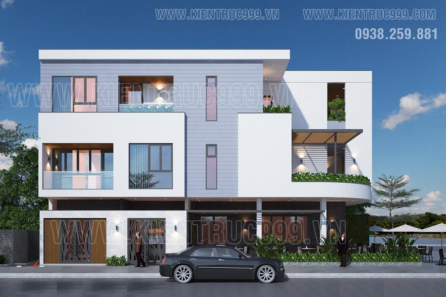 nhà vát góc 2 mặt tiền đẹp kiến trúc đơn giản ấn tượng