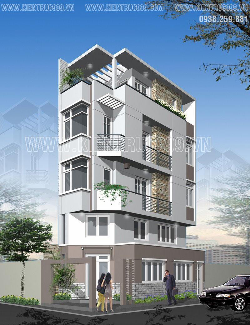 Mẫu thiết kế nhà phố đẹp 2 mặt tiền 4 tầng thêm tầng lững đẹp mãi với thời gian.