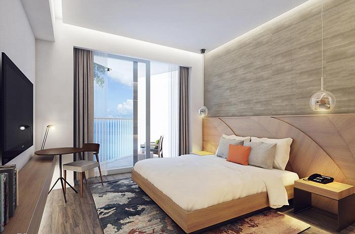 Thiết kế nội thất đầu giường cách điệu hình chiếc lá.