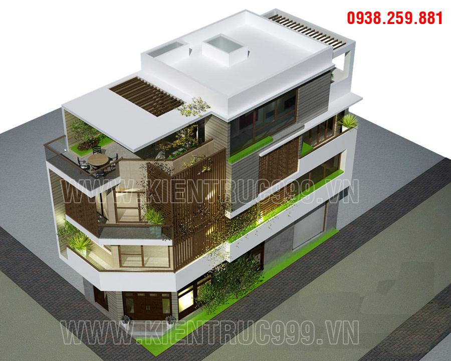 thiết kế mặt tiền nhà đẹp 2 mặt tiền xanh tươi màu thiên nhiên cây cỏ.