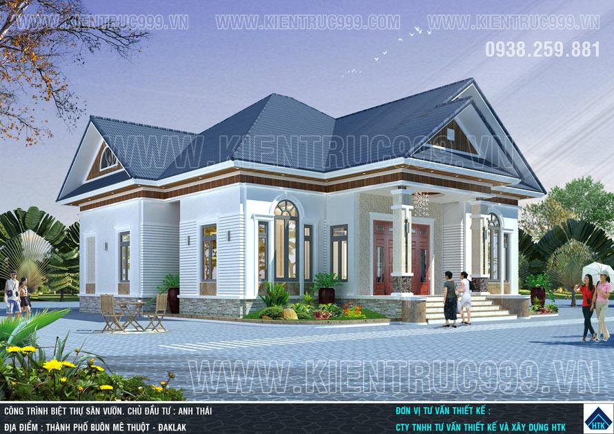 Mẫu nhà 1 tầng đẹp 2018 tại Đaklak mang nét đẹp hiện đại pha trộn cổ điển