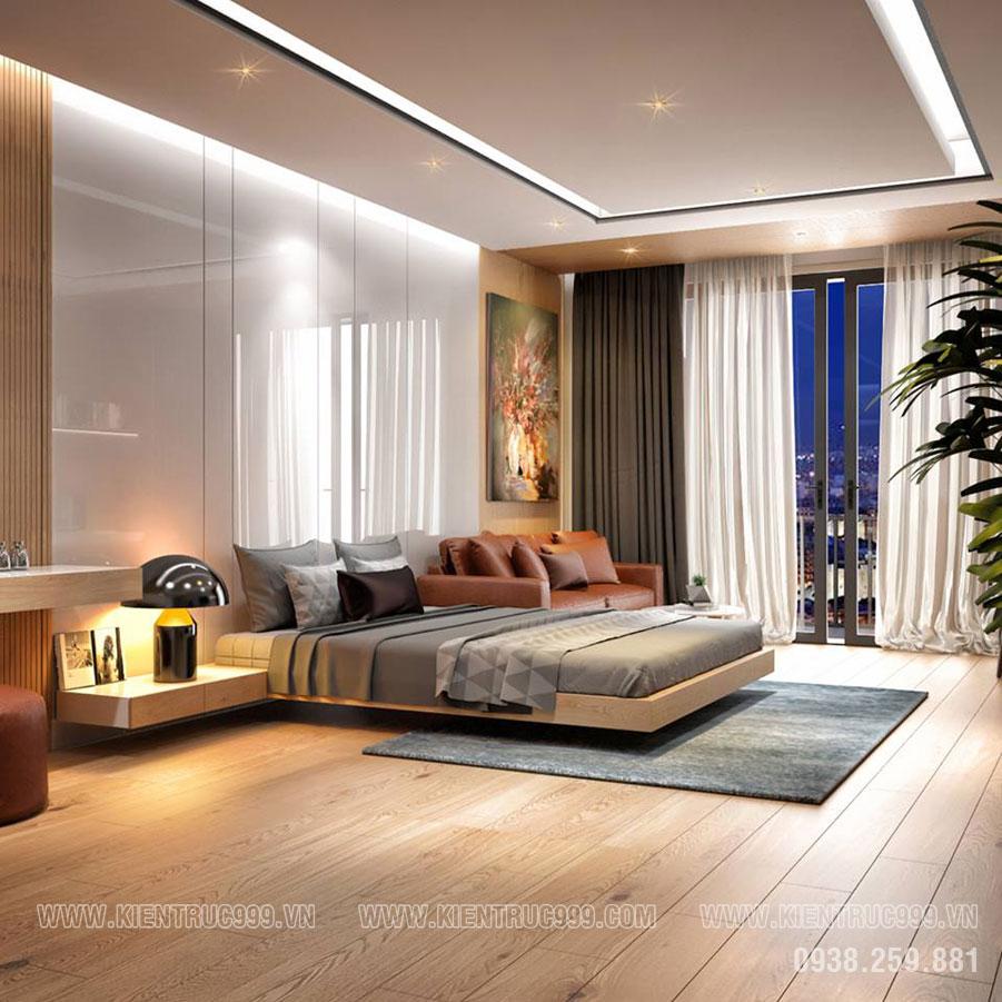 Mẫu biệt thự một tầng mái Thái có phòng ngủ số 3 rộng lớn.