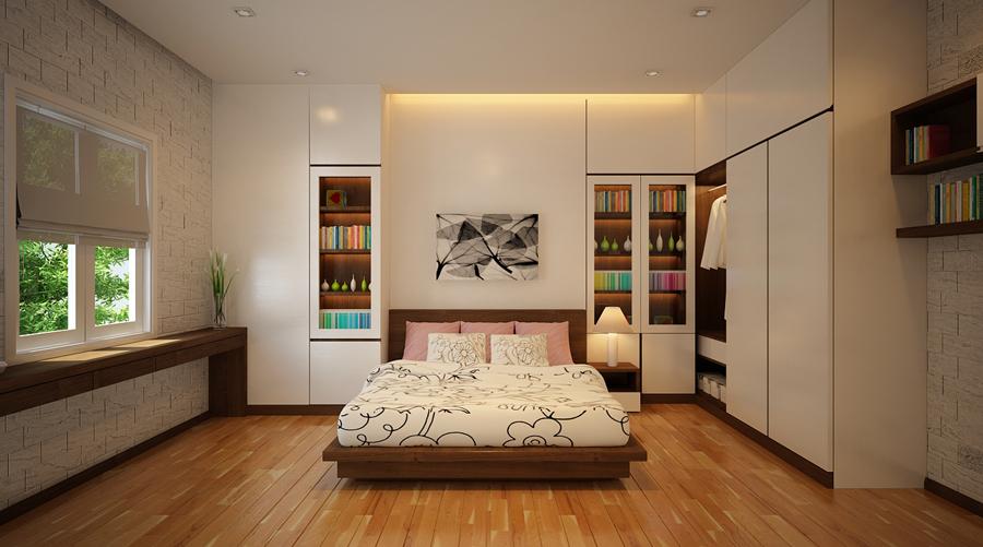 Nhà đẹp một tầng mái Thái phòng ngủ số 2 ấm áp nhiều năng lượng.