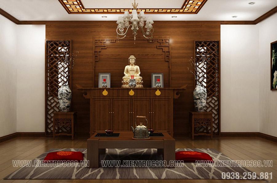 Phòng thờ mẫu biệt thự vườn mái Thái hoàn chỉnh theo đúng tâm linh người Việt.