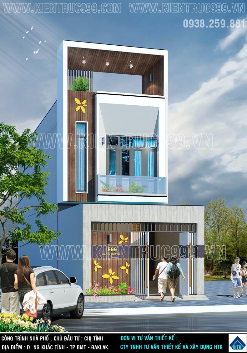 Mặt tiền nhà phố 5m 2 tầng sử dụng gạch vân gỗ 150x800 ốp tạo nên khác biệt.