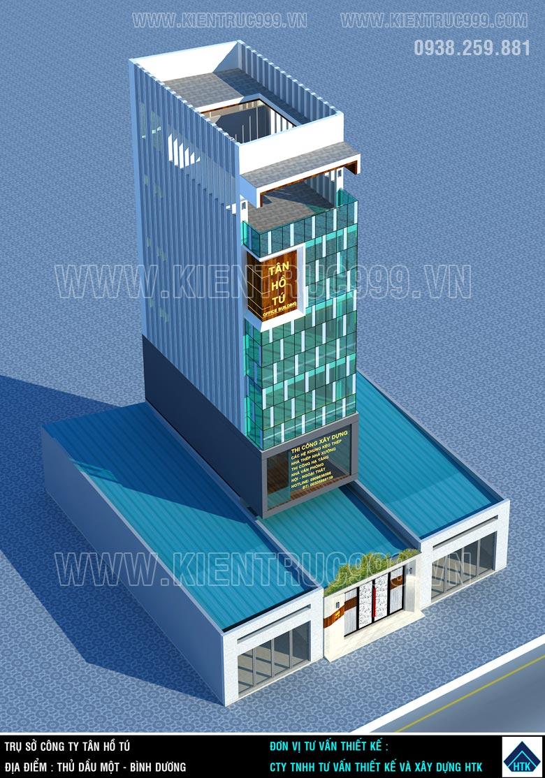 thiết kế nhà văn phòng 6x14m 6 tầng có hình khối đơn giản tỉ lệ đẹp.