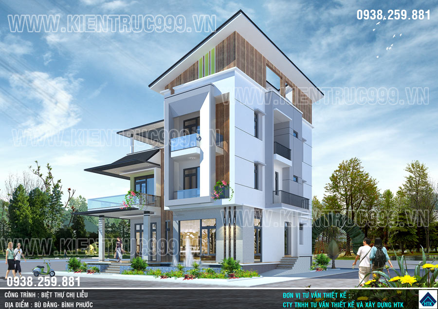 Thiết kế nhà đẹp 3 tầng mái lệch có dáng kiến trúc hiện đại, khối hình đơn giản, tiết giản từng chi tiết.