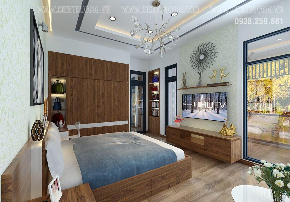 phòng ngủ nhà 2 tầng mặt tiền ngang 10m