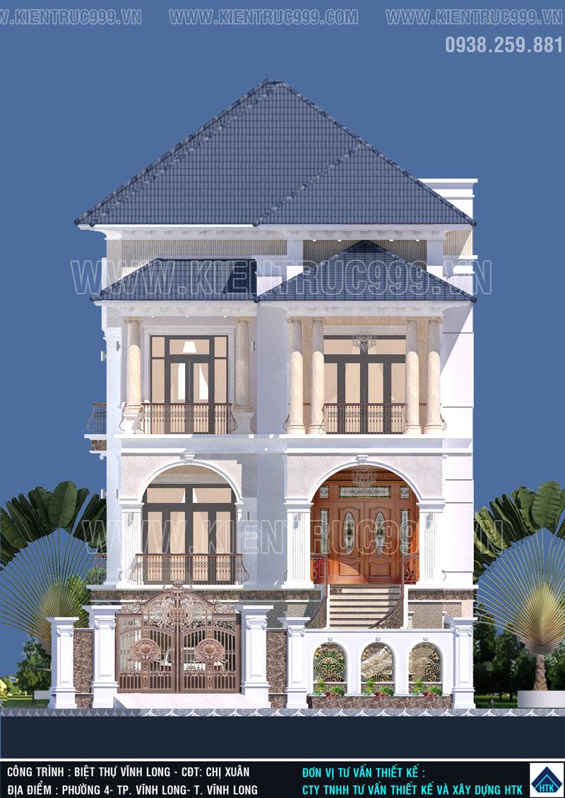 Cổng rào trong bản vẽ biệt thự 3 tầng đẹp đựợc tính toán tỉ lệ hài hòa vối mặt tiền biệt thự