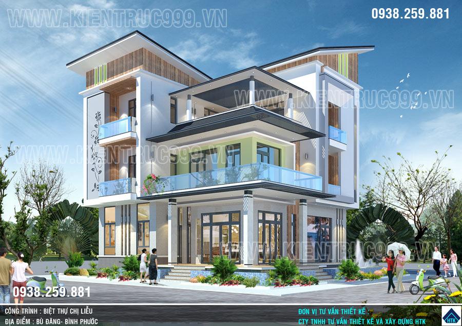 Kiến trúc sư thiết kế nhà đẹp sài gòn- Thiết kế biệt thự mái lệch Bình Phước