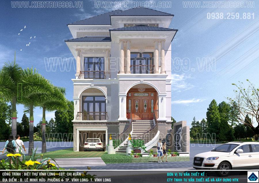 Mẫu thiết kế biệt thự 3 tầng Vĩnh Long đã chạm đến trái tim chủ đầu tư qua vẻ đẹp từ ngoại thất đến nội thất.