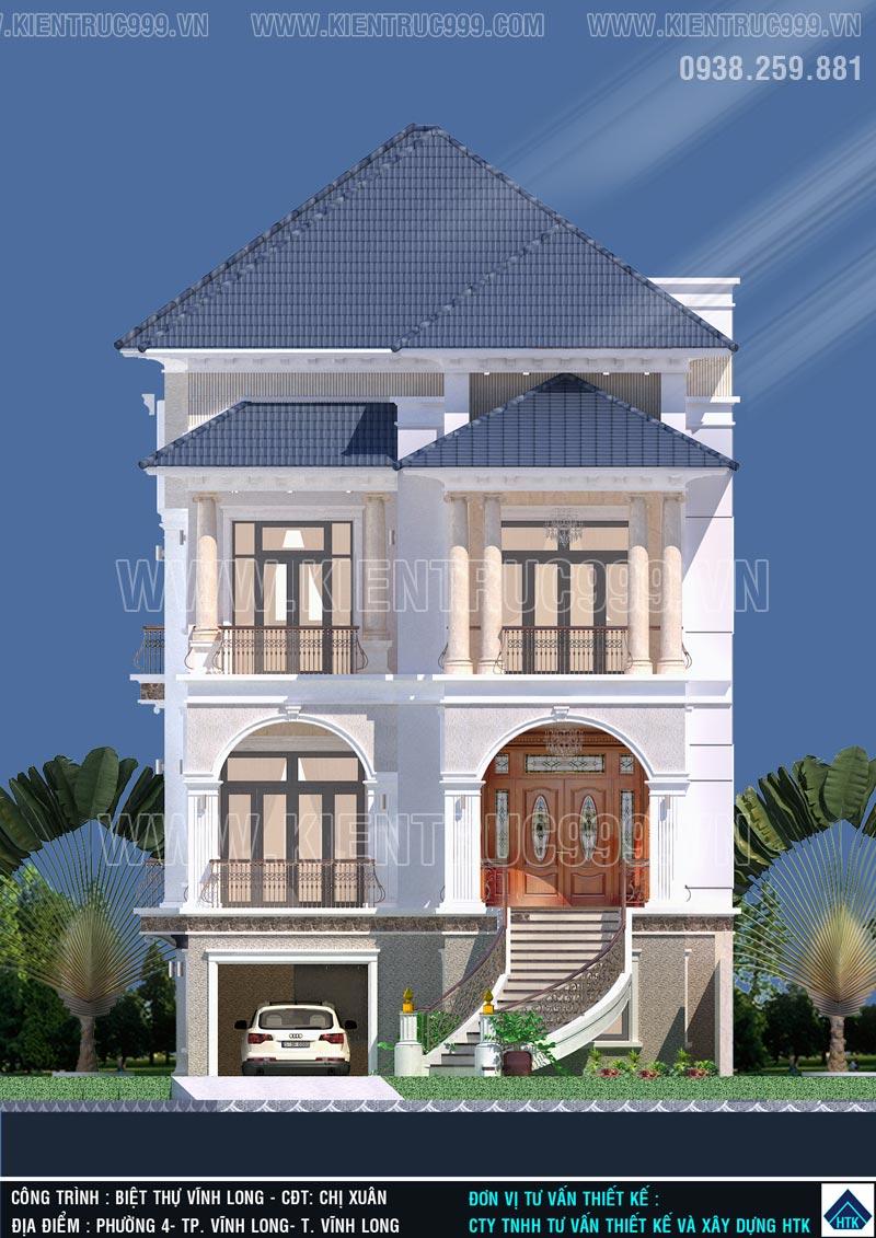 nhà 3 tầng kiểu Pháp đẹp tại Vĩnh Long lên dự toán thi công chi tiết kỹ càng