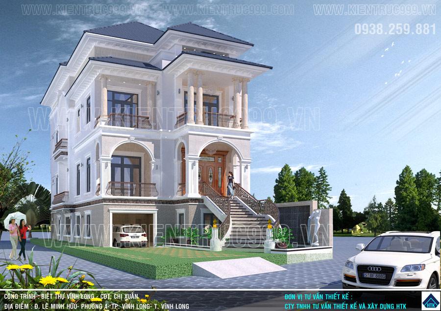 nhà 3 tầng kiểu Pháp ở Vĩnh Long có cả 4 tiêu chuẩn biệt thự