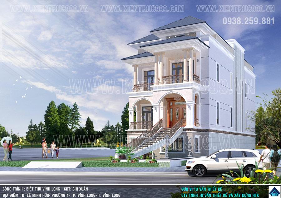 Mẫu thiết kế nhà đẹp 3 tầng tân cổ điển Vỉnh Long minh chứng rõ nét nhất cho sự chắt lọc của kiến trúc sư cty HTK.