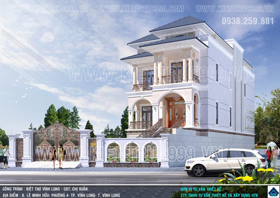 Thiết kế biệt thự đẹp Vĩnh Long có điểm nhấn là 6 cột tròn ionic.