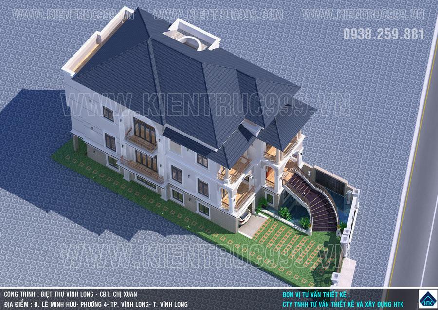 Thiết kế biệt thự tân cổ điển dung hòa tinh hoa của kiến trúc nhà đẹp cổ điển và nhà đẹp hiện đại.